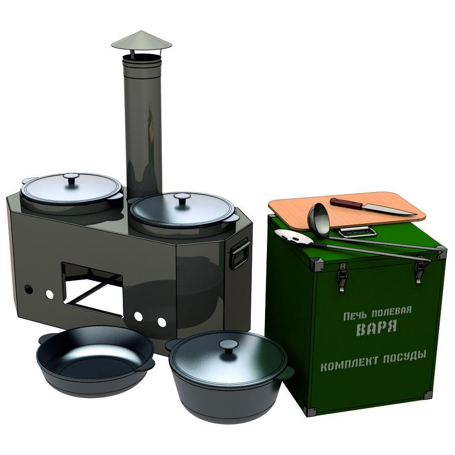 Печь полевая переносная ВАРЯ с комплектом посуды