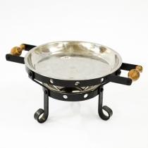 Таганок жаровый «Тихий Дворик» с нерж. блюдом для подачи